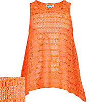 Girls coral ladderstitch handkerchief vest