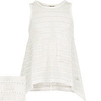 Girls white ladder stitch hanky hem vest top