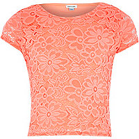 Girls coral lace fitted top