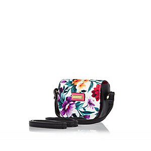 Girls pink tropical print cross body bag