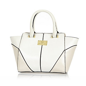 Girls white snake textured winged tote bag