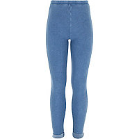 Girls blue denim turned up leggings