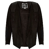 Girls black faux suede fringed jacket