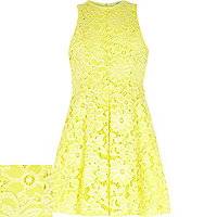 Girls yellow lace floral dress