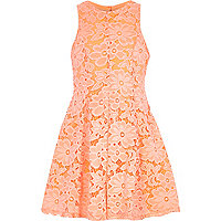 Girls coral lace floral dress