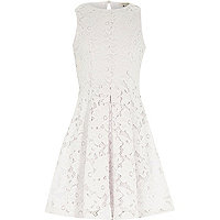Girls white floral lace dress