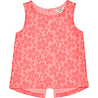 Mini girls pink lace split back top