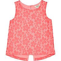 Mini girls pink lace split back top