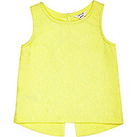 Mini girls yellow split back sleeveless top