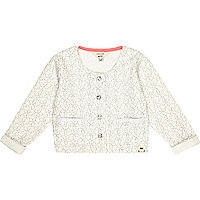 Mini girls cream floral cropped cardigan