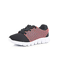 Girls black mesh runner trainers