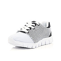 Girls white mesh runner trainers