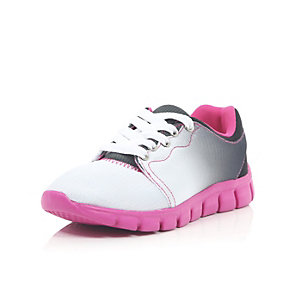 Girls faded pink mesh runner trainers