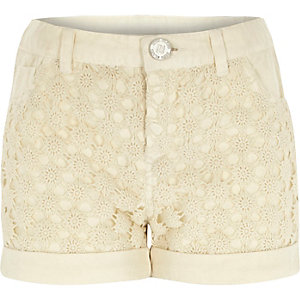 Girls cream denim lace panel shorts