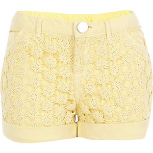Girls yellow denim lace panel shorts