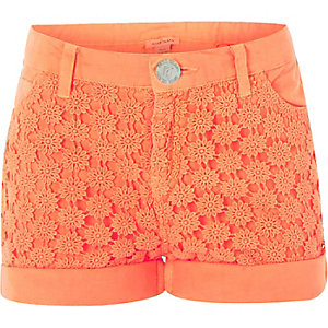 Girls orange denim lace panel shorts