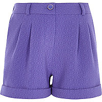 Girls purple tailored shorts