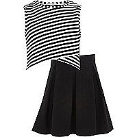 Girls black stripe top and skirt outfit