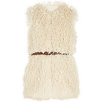 Girls cream faux fur belted gilet