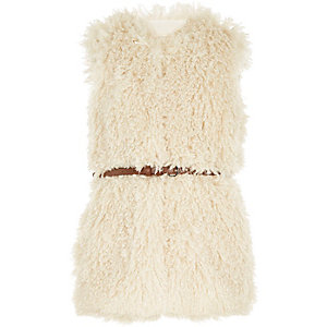Girls cream faux fur belted gilet