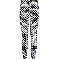 Girls blue geometric print leggings