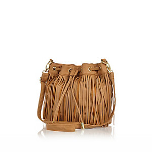 Girls brown fringe duffle bag