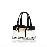 Girls white mono bowler bag