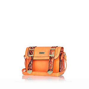 Girls orange structured satchel bag
