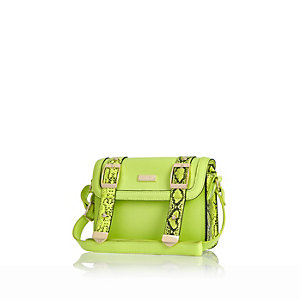 Girls green structured satchel bag