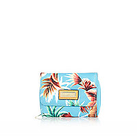Girls blue tropical trifold purse