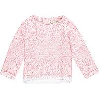 Mini girls fluro coral boucle top