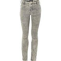 Girls grey acid wash ripped knee jeggings