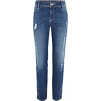 Girls mid wash blue slim jeans