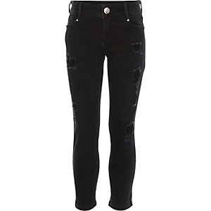 Girls black ripped Jenna slim jeans