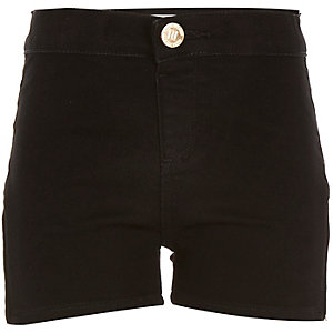 Girls black denim tube shorts