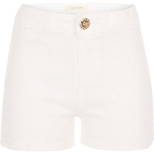 Girls white denim tube shorts
