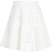 Girls cream lace midi skirt