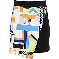 Girls black geometric print wrap skirt