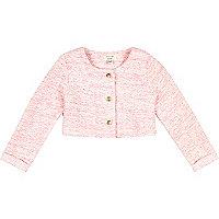 Mini girls fluro pink cropped boucle jacket