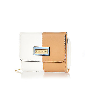 Girls brown and white trifold purse