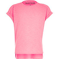 Girls pink plain cotton woven back t-shirt