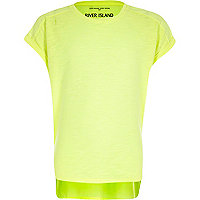 Girls lime green cotton woven back t-shirt