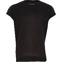 Girls black plain cotton woven back t-shirt