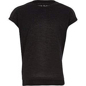 Girls black plain cotton woven back t-shirt