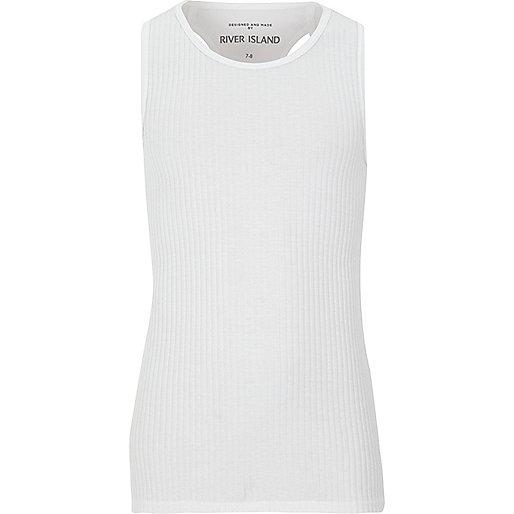 Girls white woven racer back vest