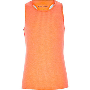 Girls orange woven racer back vest