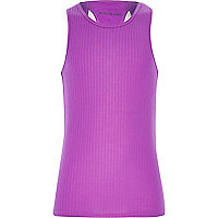 Girls purple woven racer back vest