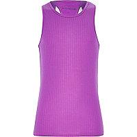 Girls purple woven racer back vest