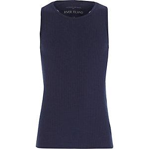 Girls navy blue woven racer back vest