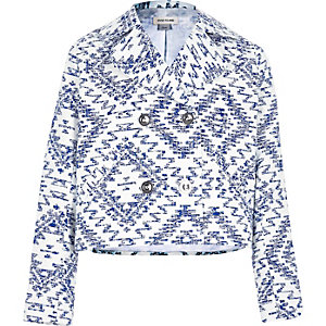 Girls blue Aztec jacquard swing jacket
